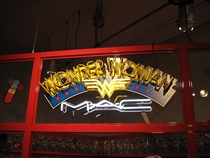 MAC Wonder Woman makeup display neon sign