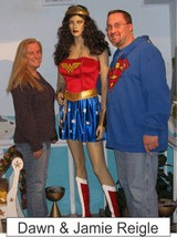 Dawn and Jamie Reigle in the Marston Family Wonder Woman Museum