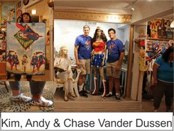 Kim Andy and Chase Vander Dussen in the Marston Family Wonder Woman Museum