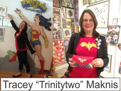 Tracey Marknis in the Marston Family Wonder Woman Museum